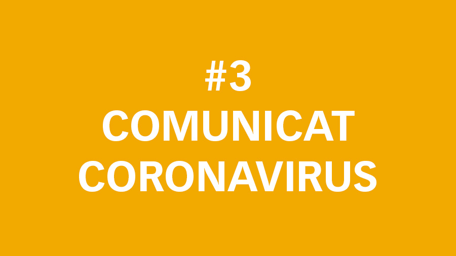#3 Comunicat oficial sobre el Coronavirus