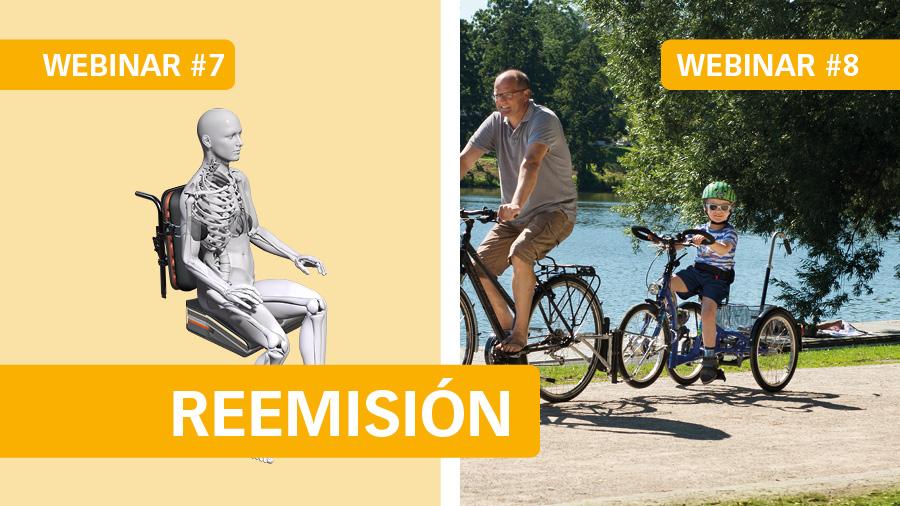 El martes 9 reemitiremos el webinar #7 Posicionamiento en sedestación - Cojín Spex Flex, y el jueves 11 #8 Triciclos adaptados: beneficios y configuración