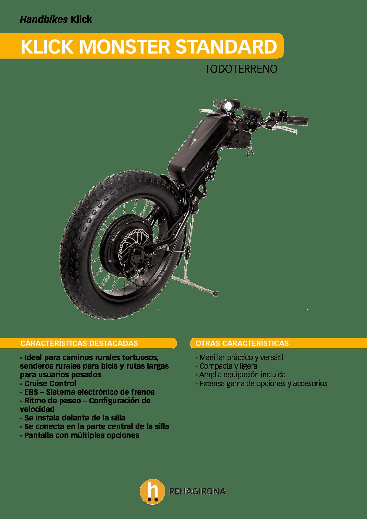 Características y beneficios más destacados de la handbike Klick Monster Standard - Rehagirona