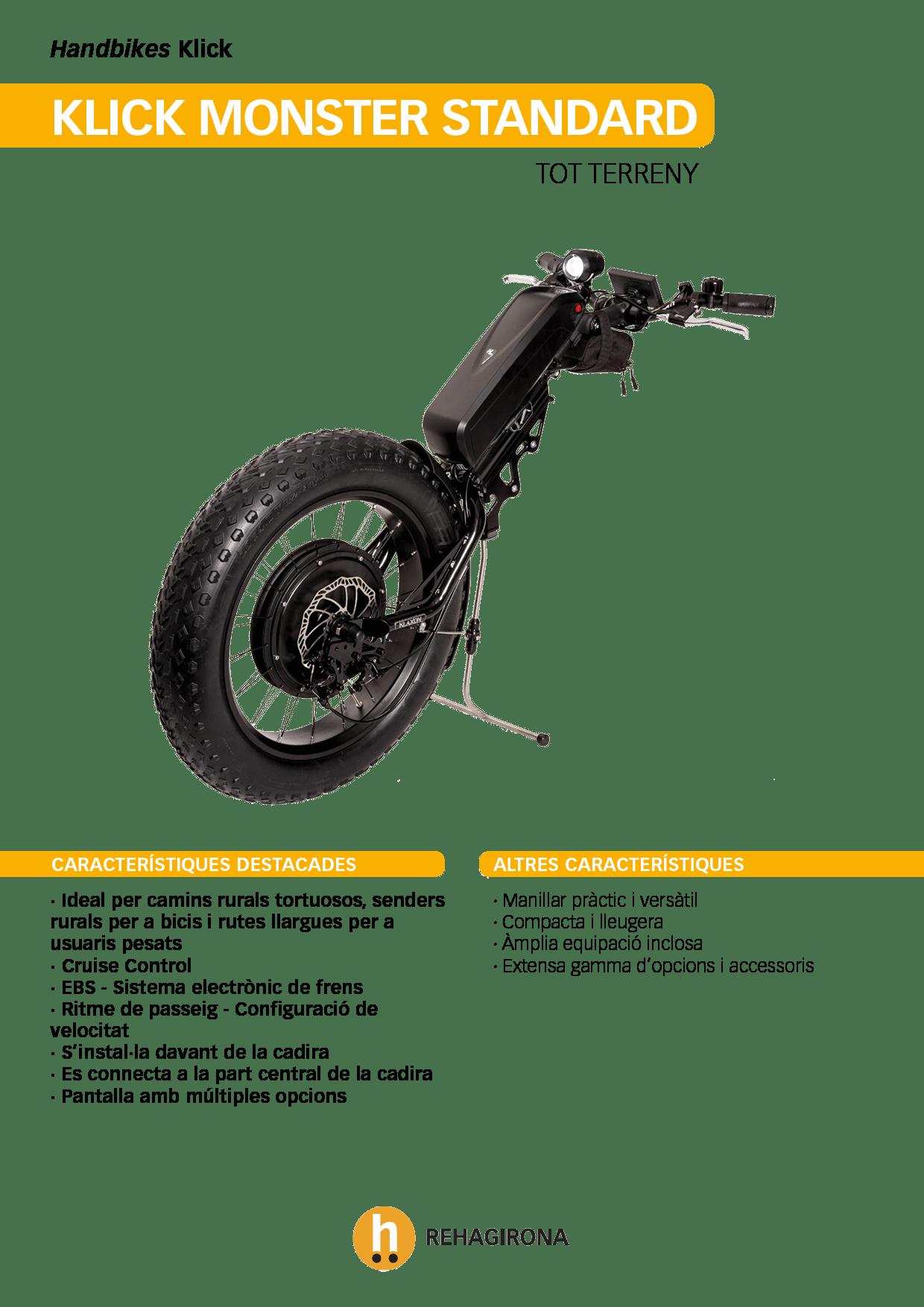 Característiques i beneficis més destacats de la handbike Klick Monster Standard - Rehagirona