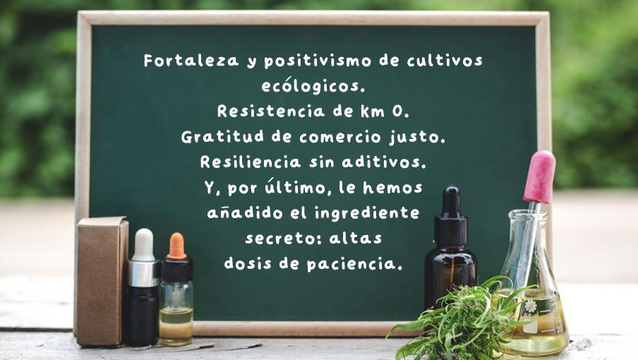 ¡Tenemos la fórmula para afrontar el 2021! - Rehagirona - Fortaleza y positivismo de cultivos ecológicos. Resistencia de km 0. Gratitud de comercio justo. Resiliencia sin aditivos. Y, por último, lo hemos añadido el ingrediente secreto: altas dosis de paciencia