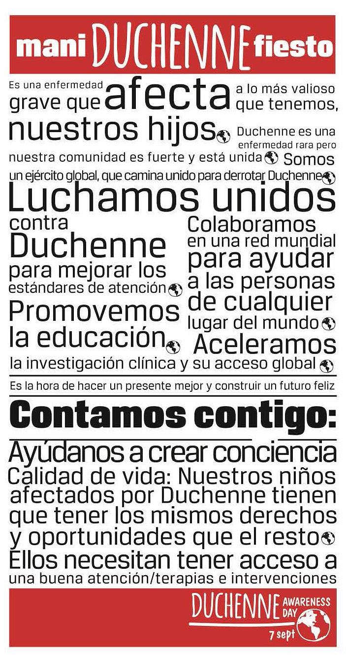 Manifiesto Día Mundial de la Concienciación de Duchenne - Rehagirona
